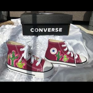 Custom painted cactus baby Converse shoes size 7